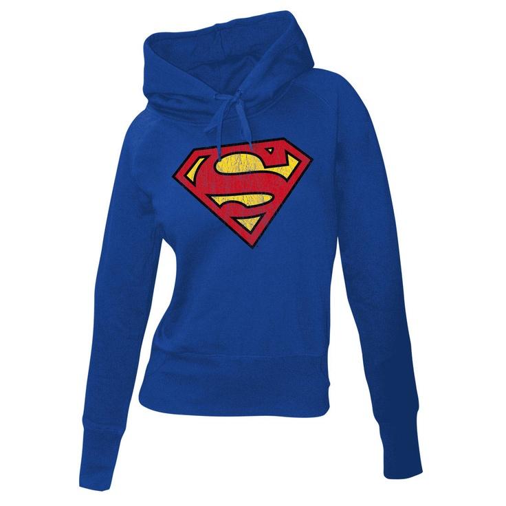 Sudadera chica con capucha Superman. Logo gastado