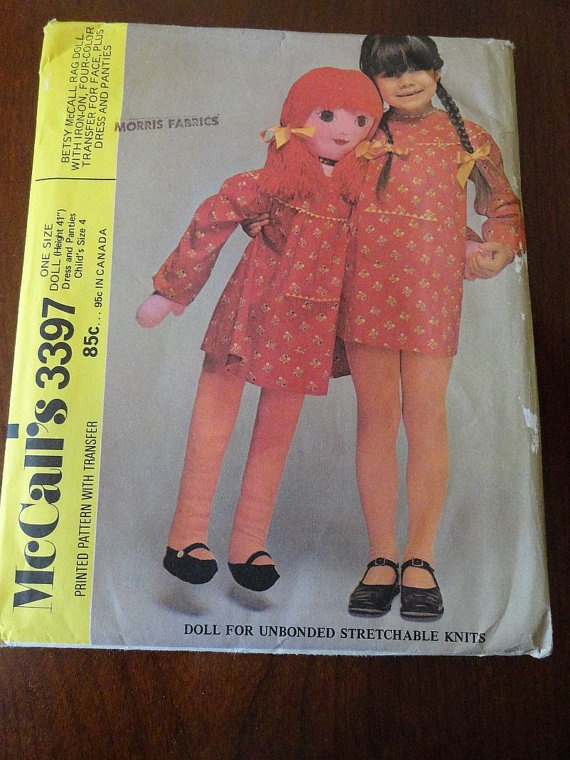 Vintage 70s Betsy McCall Rag Doll Pattern McCalls by glamourstitch