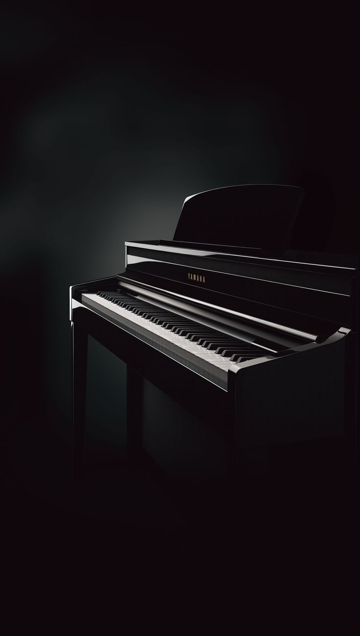 Clavinova CLP-480 digital piano in polished ebony finish. Panel Reveal Key Cover hides the operating panel for a more natural acoustic piano look.