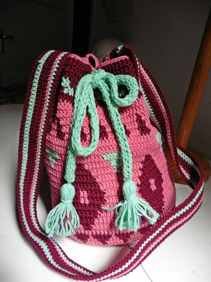 Bolsa,Petate,Hecho a mano,Ganchillo,Algodón,Color Rosa Chicle. Color Granate,Color Verde, Cómoda, Única, de SoulAndMade en Etsy
