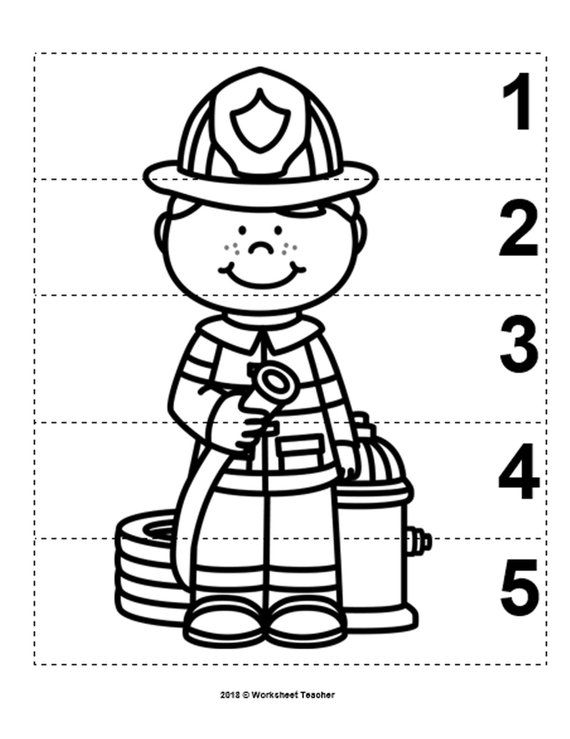 10 Community Helpers Number Sequence 1 5 Preschool Math B W