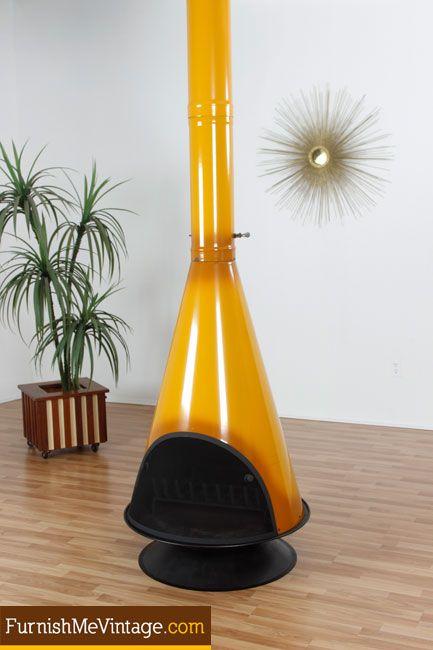 Mid Century Wood Burning Gold Fireplace: Furnish Me Vintage