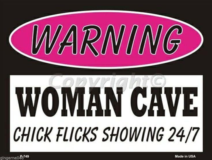 Warning Woman Cave Chick Flicks Showing 24/7  Pink Metal Parking Sign