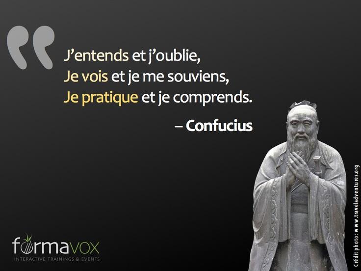 """La citation pédagogique de la semaine #1 : """"J'entends et j'oublie, je vois et je me souviens, je pratique et je comprends."""" - Confucius. Invitez vos apprenants à manipuler vos contenus de formation, et proposez-leur plusieurs activités sous forme de modalités diverses et variées, afin de favoriser leur apprentissage à long terme."""