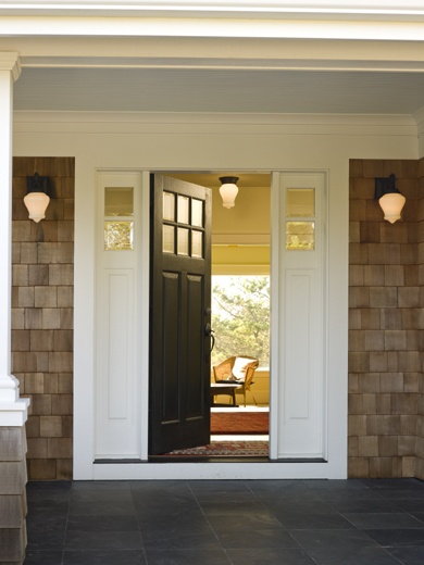 I love: A) the craftsmen style door B) the slate tiling on the porch