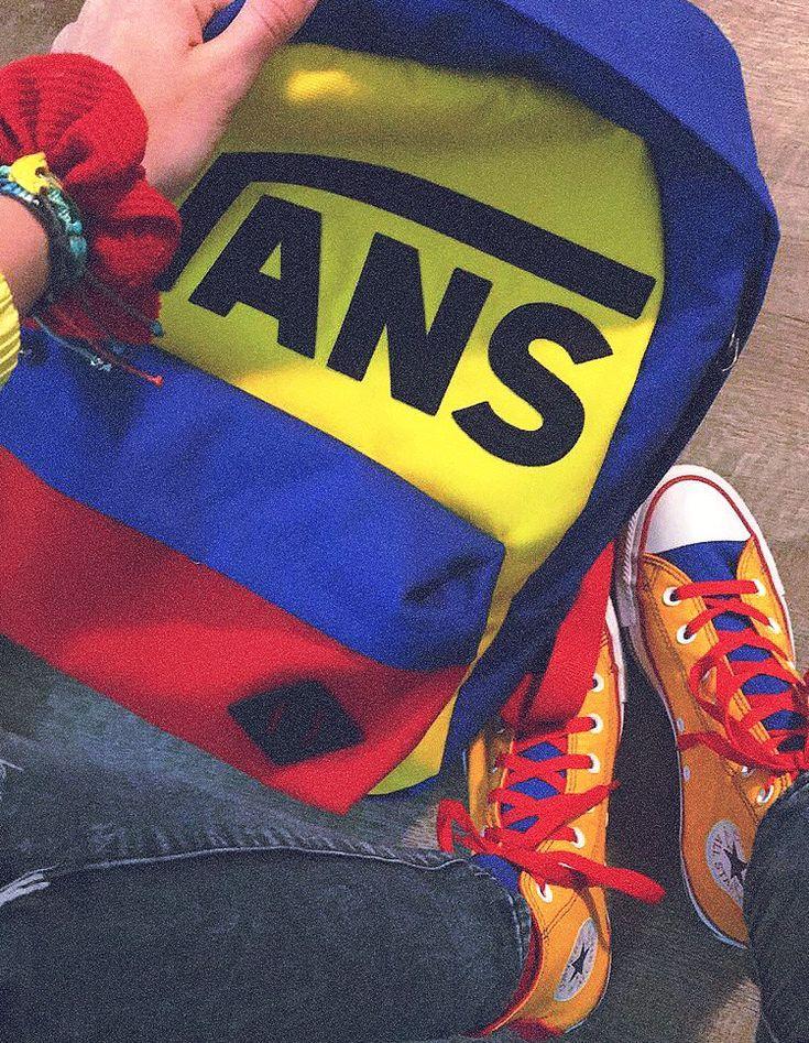aesthetic primary vans yellow converse colors bag custom