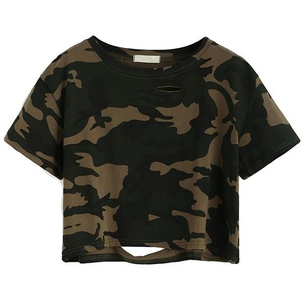 SweatyRocks Tshirt Camo Print Distressed Crop T-shirt ($13) ❤ liked on Polyvore featuring tops, t-shirts, camo t shirt, torn t shirt, cut-out crop tops, crop top and camo tee