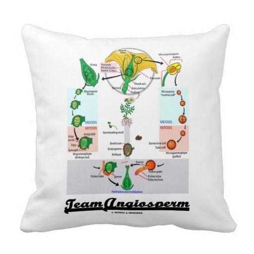 Team Angiosperm Alternation Of Generations Flower Throw Pillow