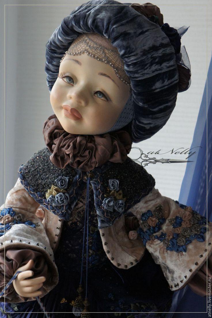 Купить Птичка-белоличка - тёмно-синий, сад, бархат, кукла ручной работы, лучший подарок