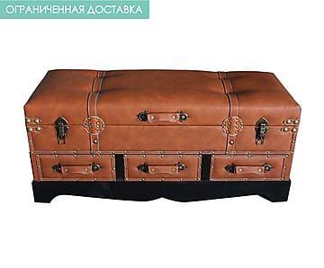 Мягкая скамья с ящиками - пу-кожа - В46,5хД102хШ42