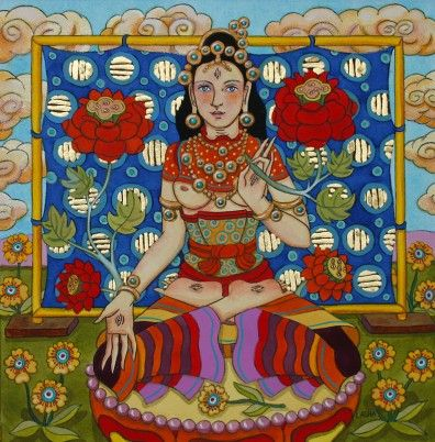 white Tara with Tapestry