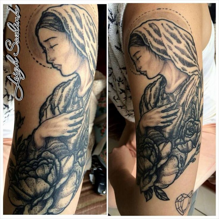 Mother Mary Etchwork Tattoo