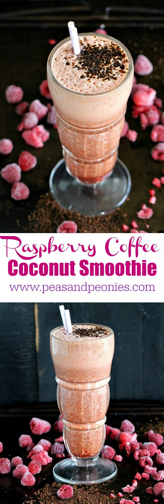 Raspberry Coffee Smoothie made with delicious chilled coffee, frozen raspberries and creamy coconut milk, is the perfect pick me up treat.