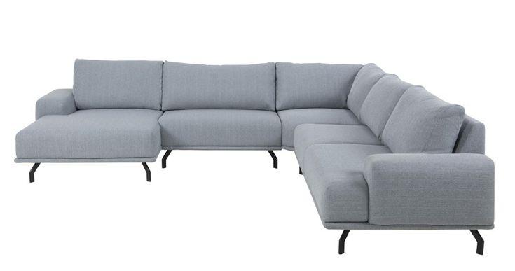 Abigail+Hjørnesofa+m/venstrevendt+chaise+-+Lys+grå+-+