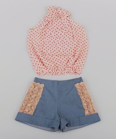 Another great find on #zulily! Pink Polka Dot Ruffle Top & Chambray Shorts - Toddler & Girls by Mia Belle Baby #zulilyfinds