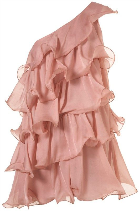 Pink One-Shoulder Cascading Ruffle Tiered Dress