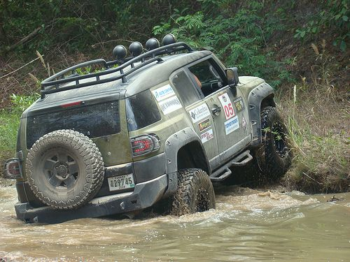 fj cruiser off roading.  Looks like fun getting back in the woods aways.