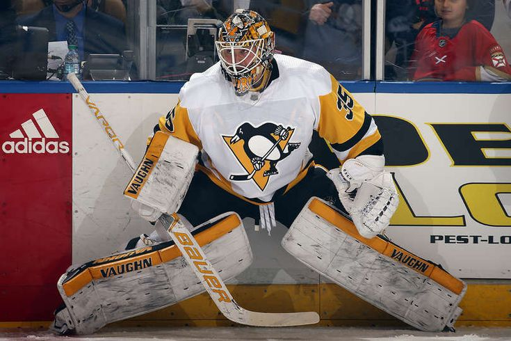 SUNRISE, FL - FEBRUARY 24: Goaltender Tristan Jarry #35 of the Pittsburgh Penguins stretches on the ice during warm ups against the Florida Panthers at the BB&T Center on February 24, 2018 in Sunrise, Florida. (Photo by Eliot J. Schechter/NHLI via Getty Images)