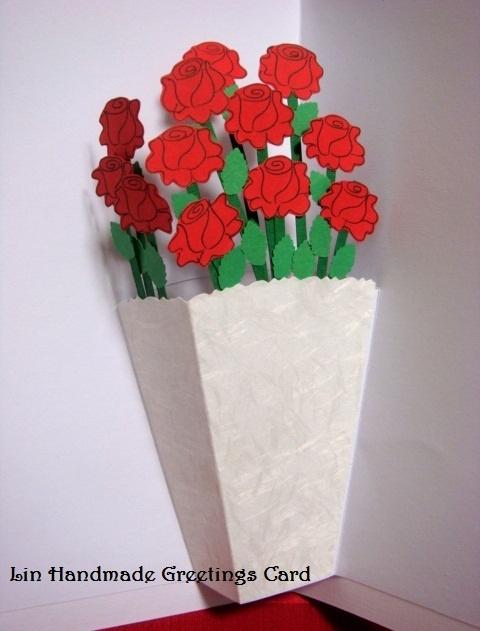 Lin Handmade Greetings Card: Pop up roses card