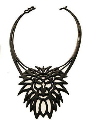 Leo the Lion, Unique Lace Art, by Rebel Lace - Jewelry Necklaces with a Touch of Attitude. This Super Soft Silicone Strand Pendant Style Fashion Jewellery Necklace sits high similar to a choker.