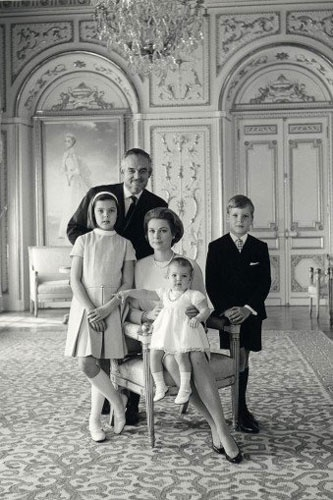 Prince Rainier and Princess Grace with their children l to r:  Caroline, Stephanie (on Grace's lap) and Albert.