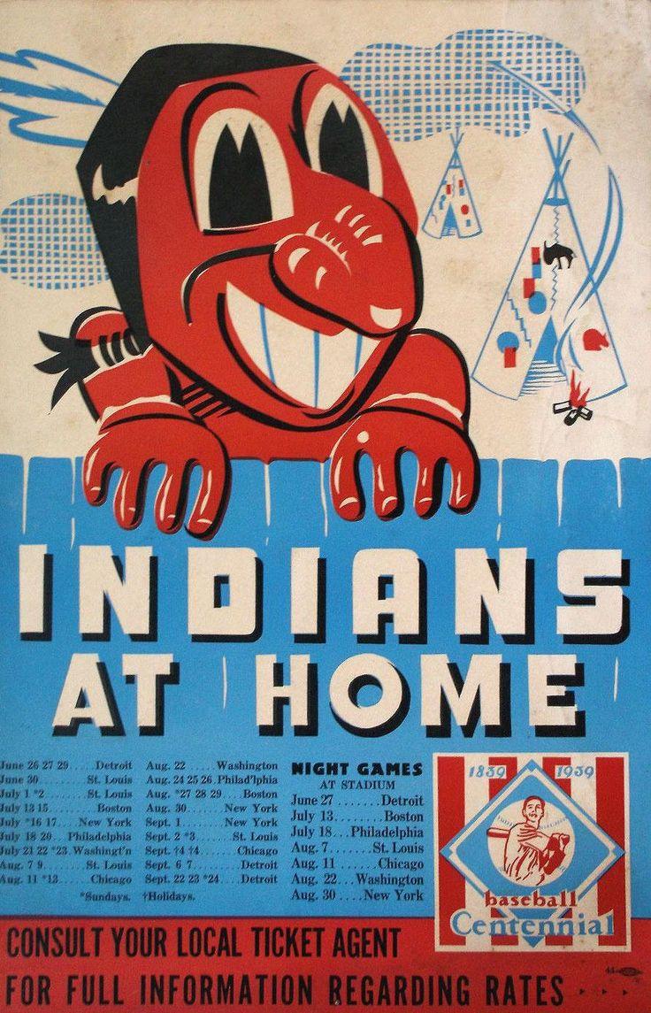 1939 Cleveland Indians schedule poster art featuring centennial season logo