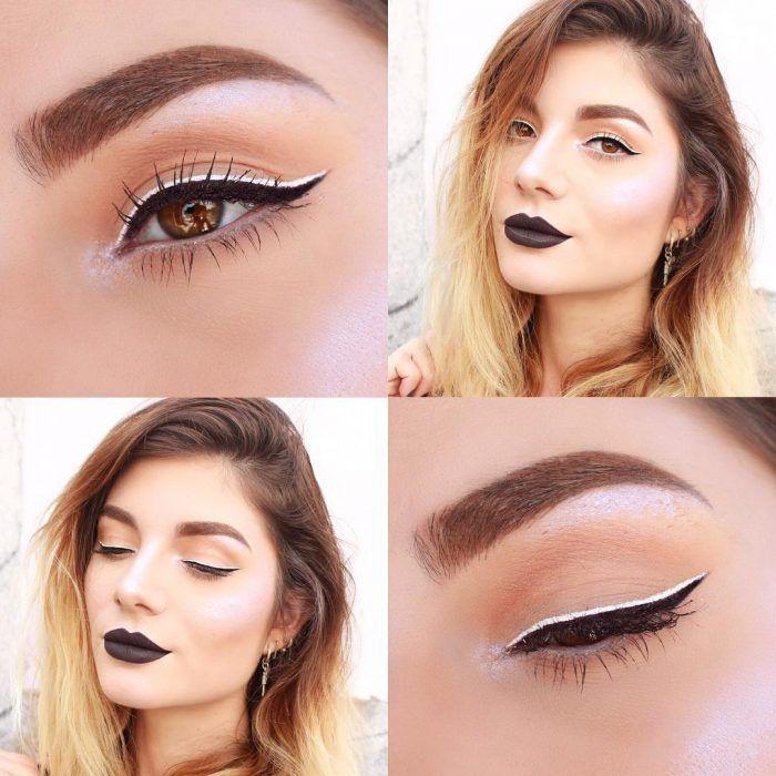 mujer maquillada con delineador blanco y negro