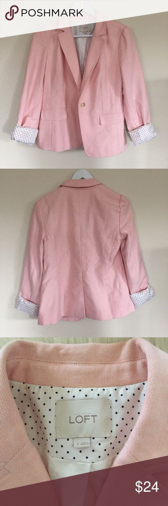 Ann Taylor LOFT Light Pink Blazer Ann Taylor LOFT light pink blazer with adorable polka dot lining. Size 4. Gently worn. Smoke and pet free home. Hope you enjoy! 💕 LOFT Jackets & Coats Blazers