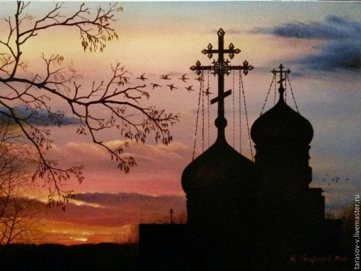 Купить Авторская картина Осенний ноктюрн - комбинированный, желтый, розовый, фиолетовый, красный, Ультрамарин, коричневый