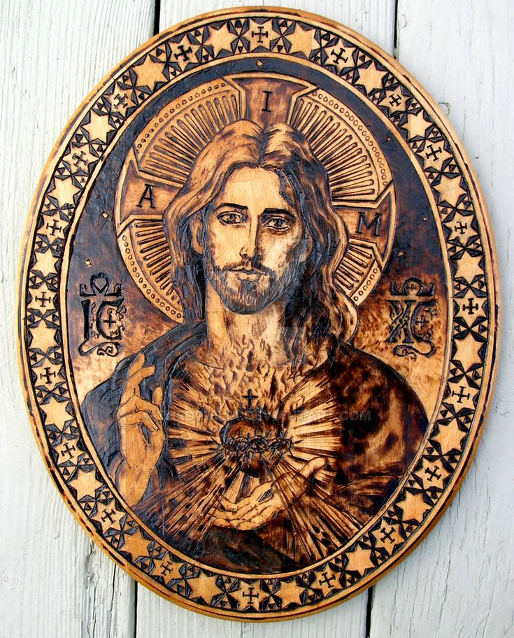 """The Sacred and Merciful Heart of Jesus October 21st, 2013 Pyrography """"Behold this Heart which has loved man so much, that has spared nothing, even to exhausting and consuming itself in order to tes..."""