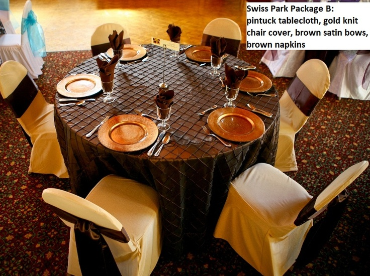 Swiss Park Banquet Center Package A With Pintuck Upgrade. Full Length  Chocolate Brown Pintuck Tablecloth And Matching Cotton/poly Napkins. Chair  Cou2026