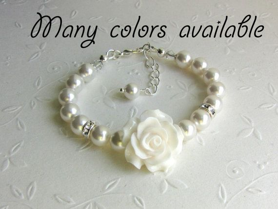 Flower Girl Bracelet Swarovski pearls gifts, Junior bridesmaids Wedding Flower Girl Baby Toddler Girl Jewelry, White Pearls and Rose on Etsy, $14.90