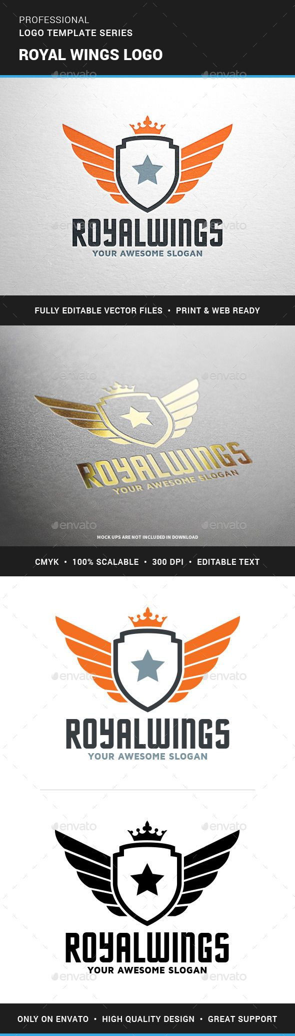 Royal Wings Logo Template — Transparent PNG #flight #company • Available here → https://graphicriver.net/item/royal-wings-logo-template/12364849?ref=pxcr