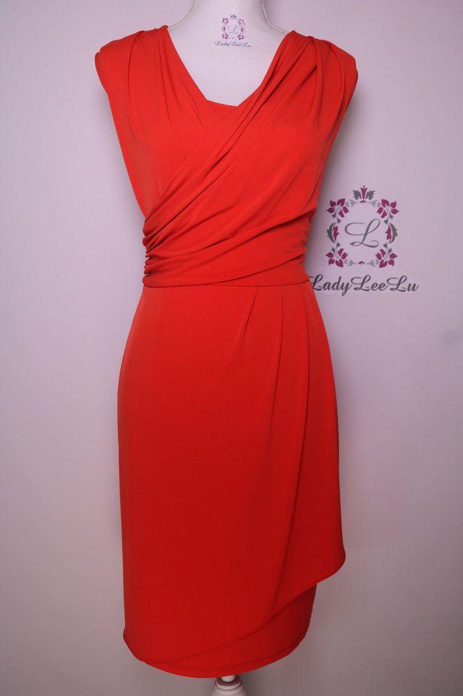 Calvin Klein New Dress Red Matte Jersey Pleated Dress M5FD7086 Size M L New NWT #CalvinKlein #WigglePencil #FormalWeartoWork