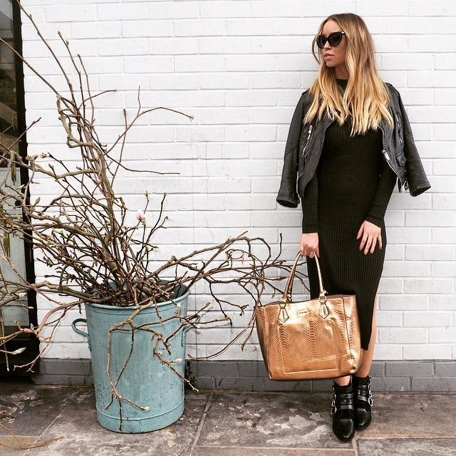 """Lauren Pope on Instagram: """"Work breaks & wall slumping in all black and gold  ✨ Shades & Bag - Lauren Pope x @accessoryo"""" - Celebrity Fashion Trends"""