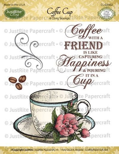 JustRite Small Cling - Coffee Cup, The Stamp Simply Ribbon Store