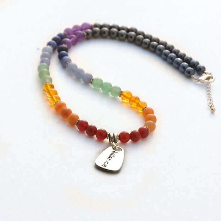 7 Chakra BALANCE Gemstone Necklace Hematite Gemstone Rainbow beads  #Handmade #Pendant