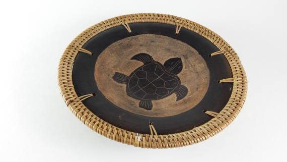 Vintage Wood Sea Turtle Bowl Basket Weave Edge by PinkBeachMonkey