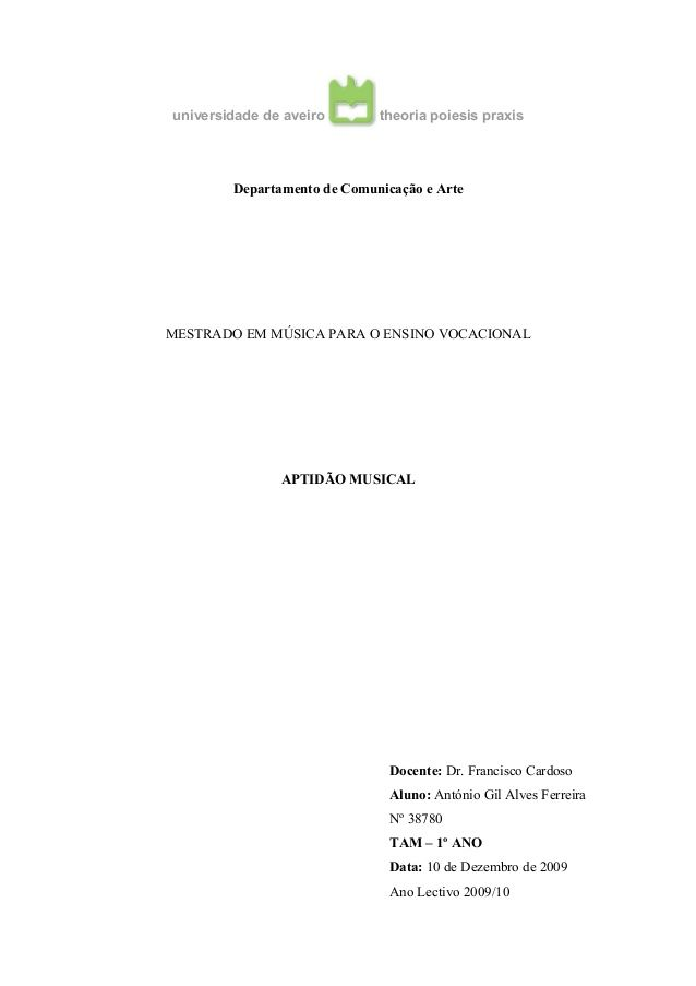 universidade de aveiro theoria poiesis praxis Departamento de Comunicação e Arte MESTRADO EM MÚSICA PARA O ENSINO VOCACION...