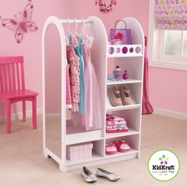 dress up closet. Maybe add wheels on bottom so it could be rolled in and out of closet.