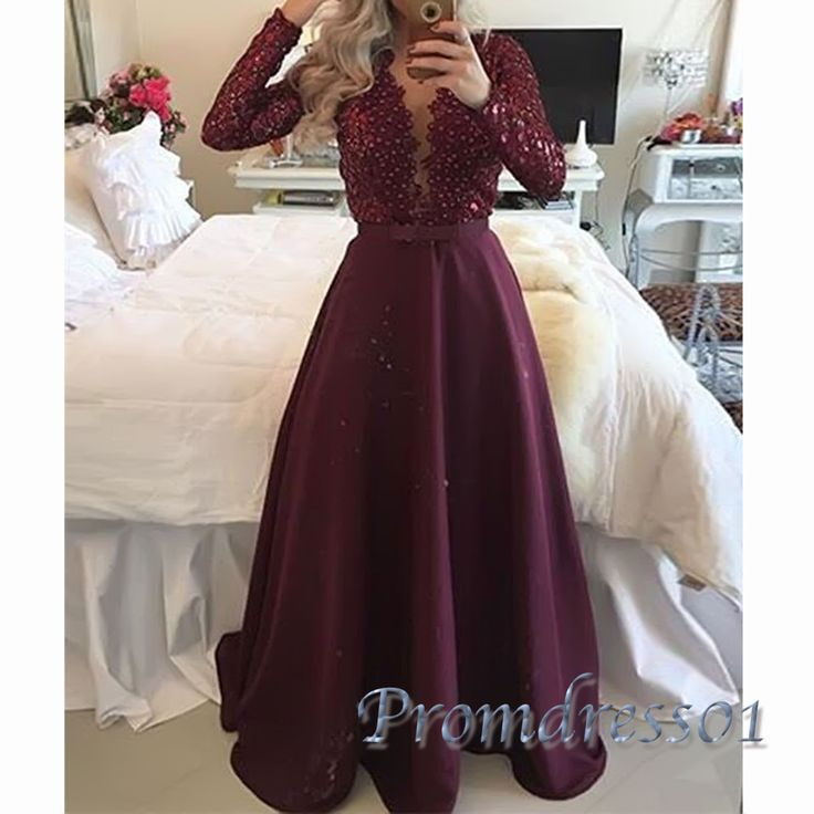 Beautiful long sleeved burgundy lace chiffon modest prom dress with sleeves, prom dresses long