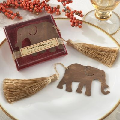 lucky elephant bookmark favor, wedding souvenir, the knot