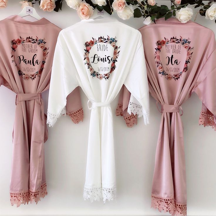 PEARL LACEY Satin and lace bridal robes in standard and plus sizes and child sizes, bridal wedding robe with lace arms and bottoms