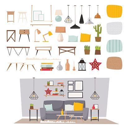 Meble i wystrój wnętrz domu zestaw ikon płaski Wektor koncepcja – artystyczna grafika wektorowa