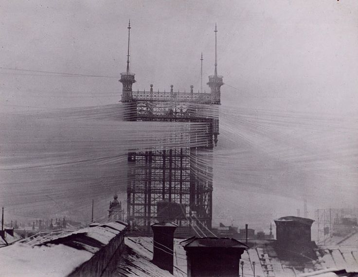 Stockholm telephone-tower 1887-1913 over 5000 telephone-lines connected Photograph Courtesy of Tekniska Museet