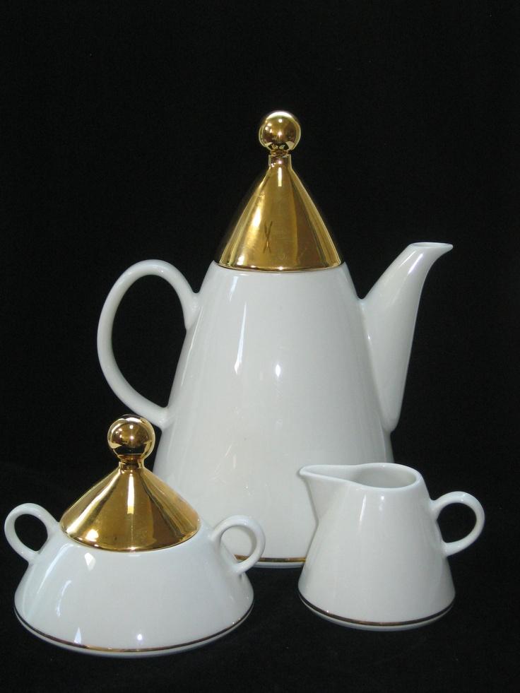 Arabia Finland HARLEKIN Gold Coffee Pot Cream & by ModandMore. $74.95, via Etsy.
