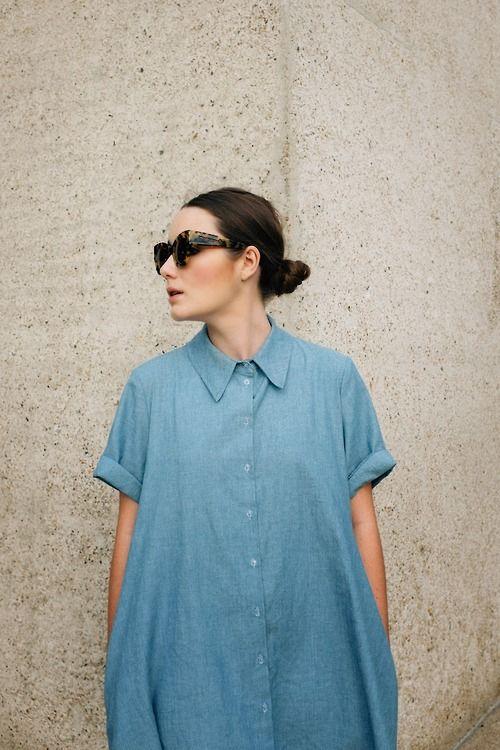 Denim shirt dress, slick back hair and statement sunglasses, super cool style.