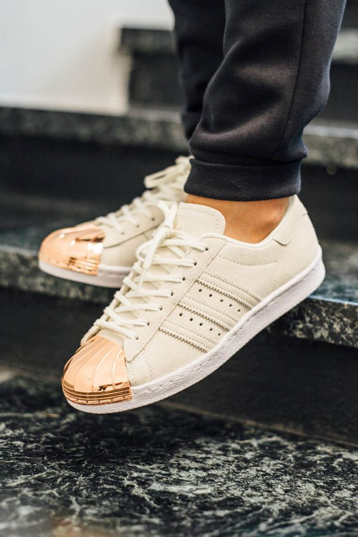 Adidas Superstar White And Gold And Black