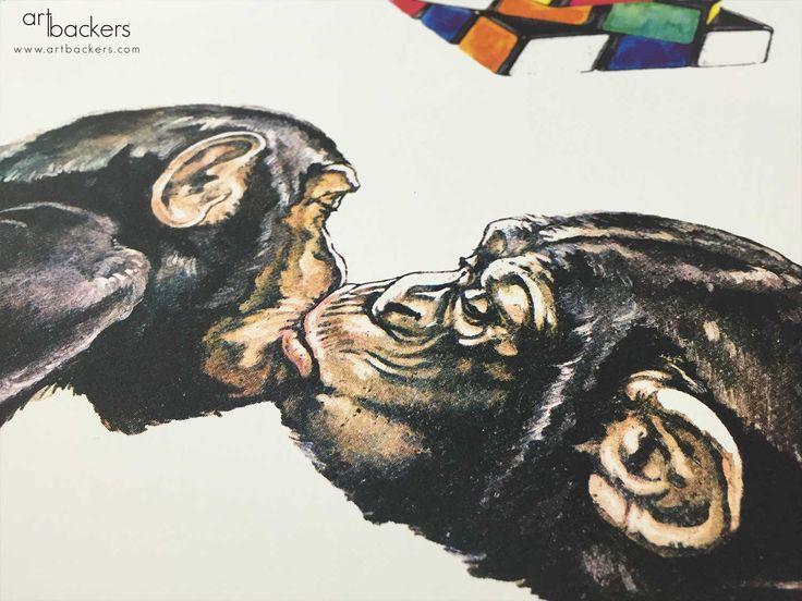 Simone Fugazzotto Art Backers #monkey #kiss #valentineday #artbackers #simonefugazzotto #heart #giftart
