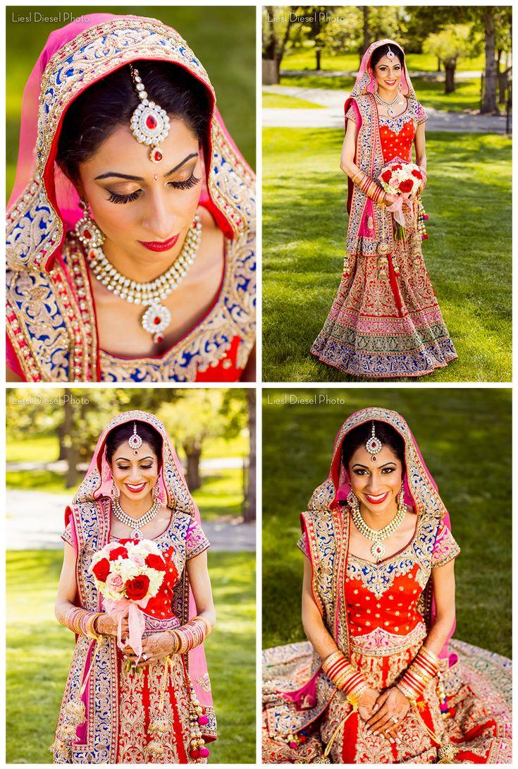 Indian Bridal Portrait Bride Red Rose Bouquet White Asian